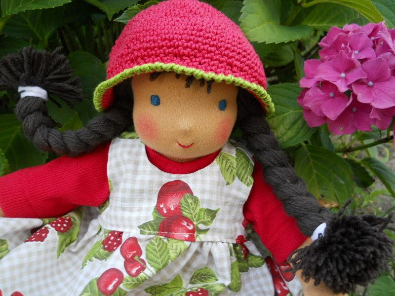"""Handmade doll, made of """"Schweizer Trikotstoff"""" 100 % Cotton,   stuffed with pure Sheepwool   hair made of mohair-wool, different hairstyles pos..."""