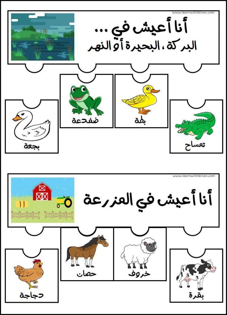 نشاط تصنيف الحيوانات حسب بيئتها على شكل بازل سبع بيئات مختلفة تعلم مع كنان In 2021 Bible Crafts For Kids Bible Crafts Arabic Lessons