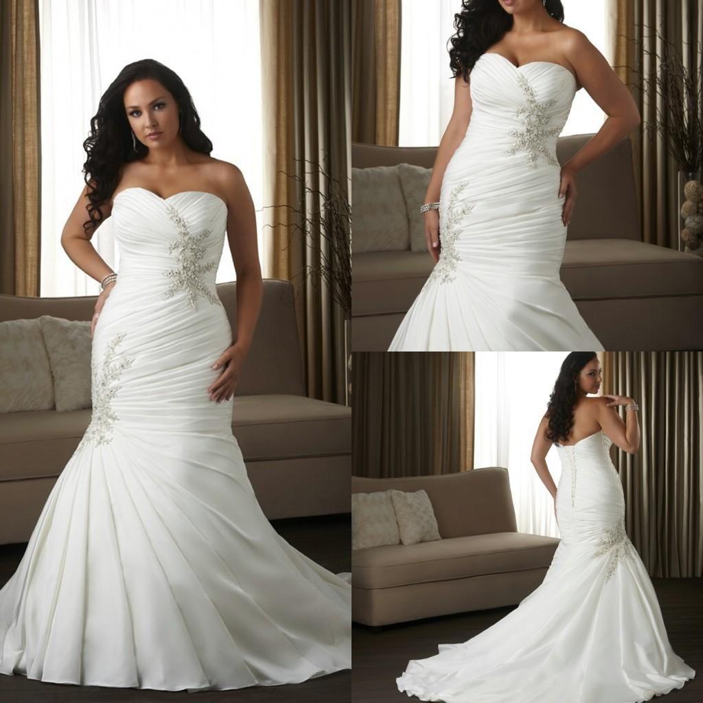 Discount elegant white satin vintage plus size wedding