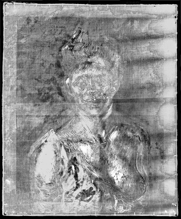 X-ray photo of Self portrait with glass~
