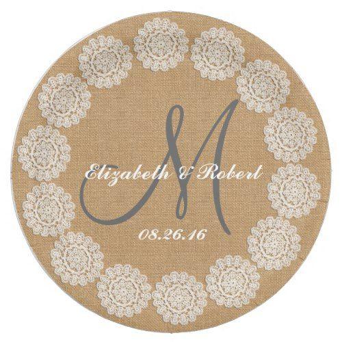 Rustic Wedding Burlap Monogram Names Lace Paper Plate  sc 1 st  Pinterest & Rustic Wedding Burlap Monogram Names Lace Paper Plate | Burlap ...
