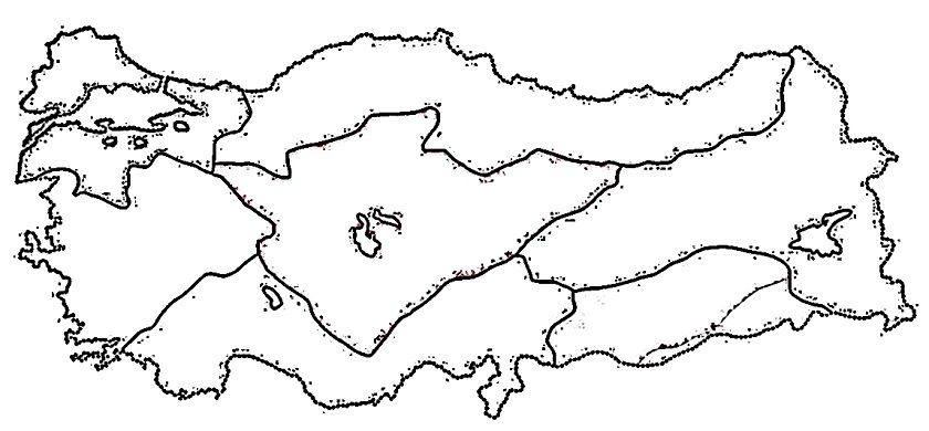 Turkiye Bolgeler Haritasi Dilsiz Jpg Harita Haritalar Boyama