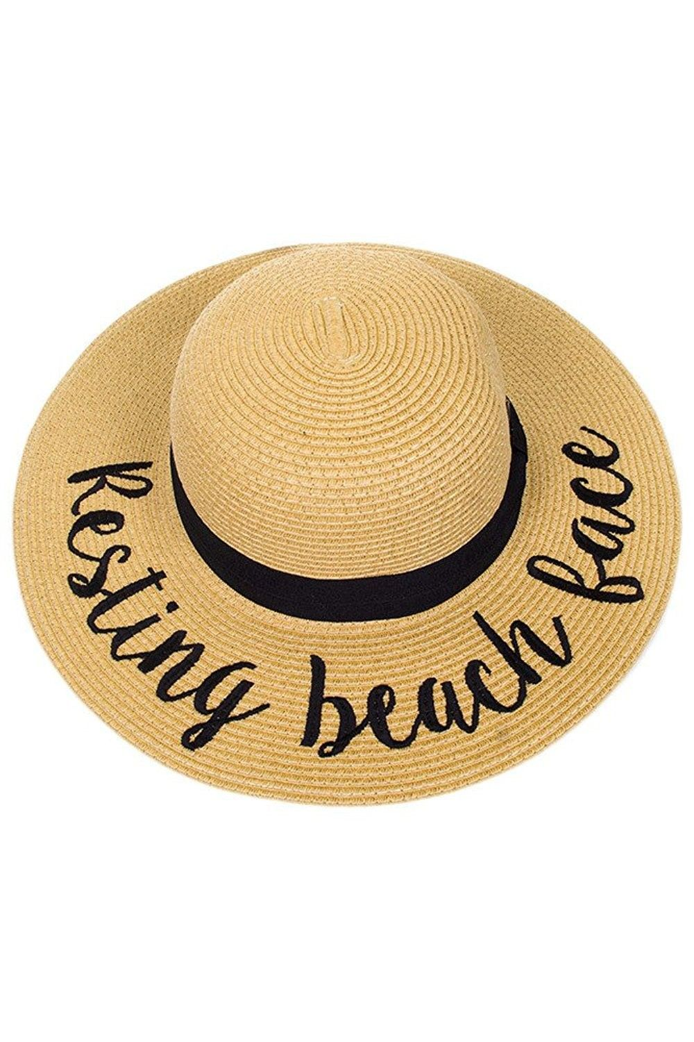 Natural Embroidered Lettering Adjustable - Resting Beach Face - CV183OAK4WR  - Hats   Caps cf17438c373