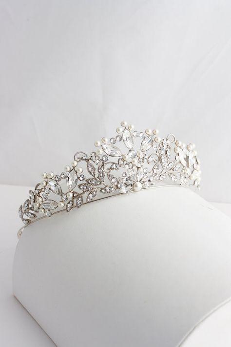 Wedding Tiara Handmade Bridal Crown Pearl Crystal Wedding Tiara Swarovski Crystal Crown Tiara Wedding Bridal Tiara Rose Gold Tiara AISLINN
