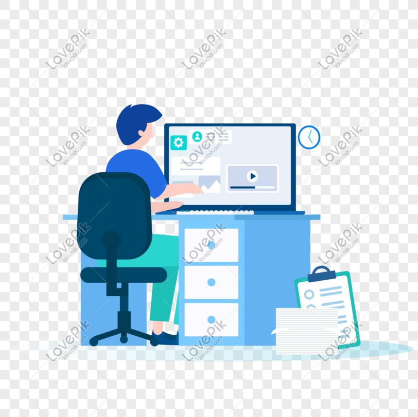 رجل يجلس في العمل أمام الكمبيوتر Man Sitting Image Man