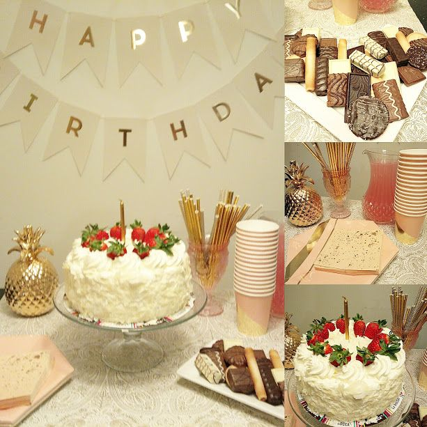 Gold and blush color scheme birthday party.