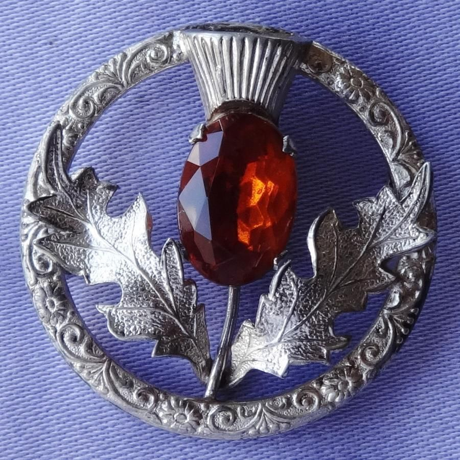 Ward Brothers Vintage Scottish Sterling Silver Brooch with Purple Rhinestone.