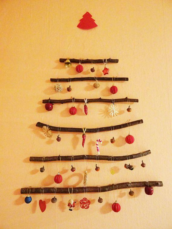 Christmas Wall Tree, Branch Tree Decor, Hanging Wood Christmas Tree ...