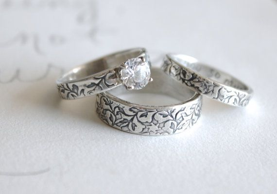 white topaz engagement and wedding ring set . set of three matching vine rings . recycled silver engraved leaf rings by peacesofindigo