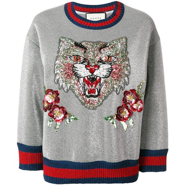 Gucci Angry Cat embroidered sweatshirt featuring polyvore, women s fashion,  clothing, tops, hoodies, sweatshirts, grey, crew-neck sweatshirts, crop top,  ... e0ec49a5d152