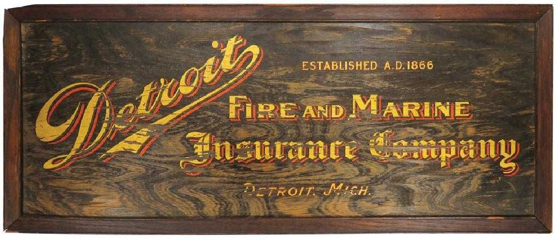Detroit Fire And Marine Insurance Co Wood Sign