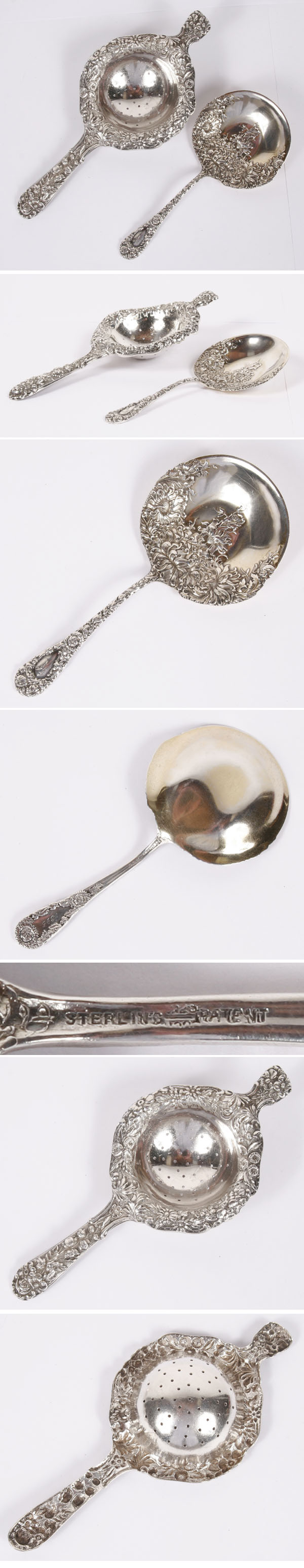 Sterling Silver Repousse Tea Strainer Berry Spoon | Antique Helper