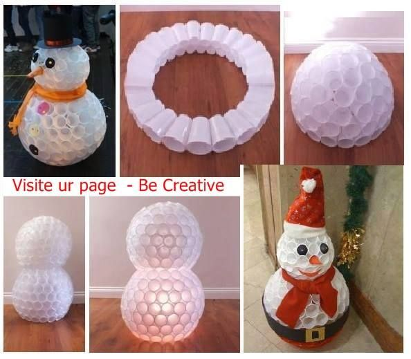 Christmas Tree Made Of Plastic Cups: Snowman And Santa From White Disposable Cups