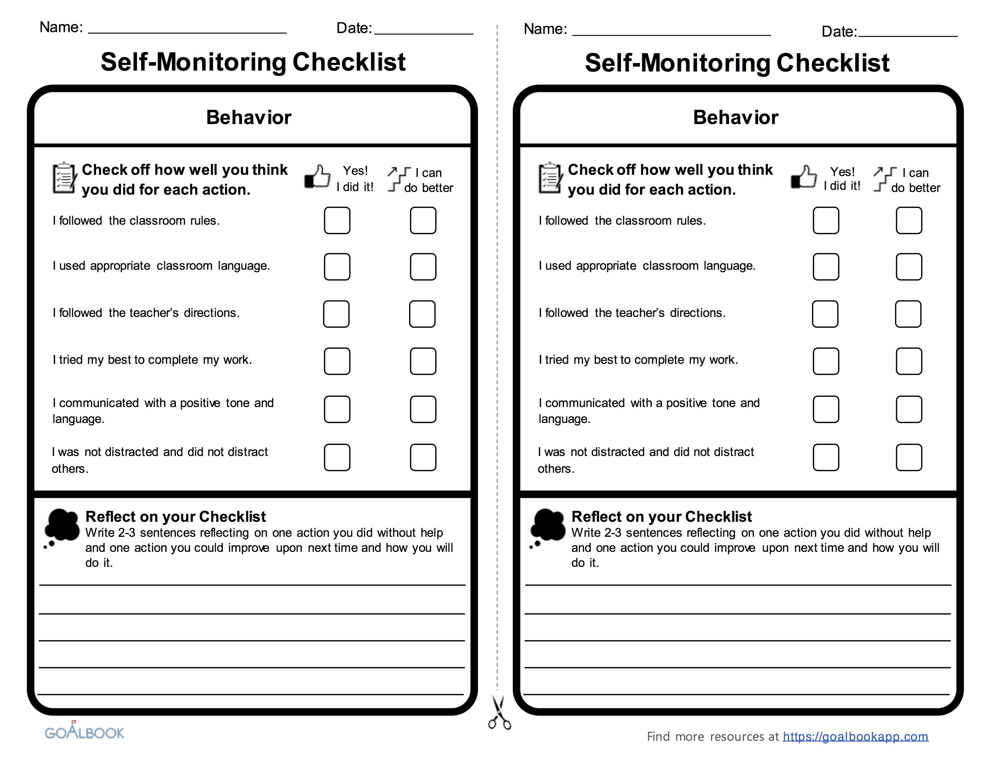 Image Result For Self Monitoring On Task Behavior