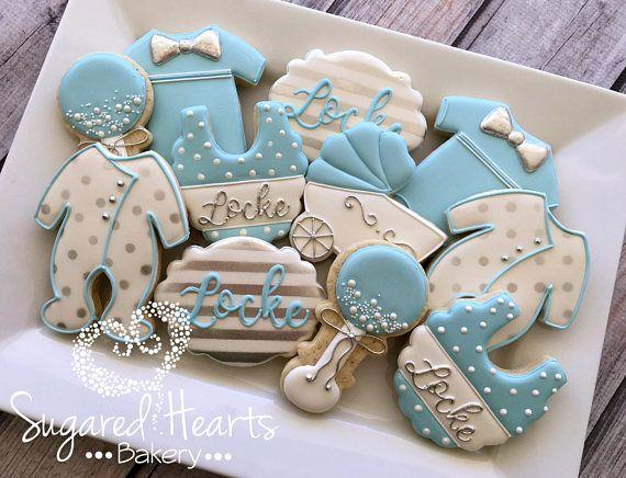 Baby Boy Blue And Silver Baby Shower Cookies 1 Dozen Baby Shower