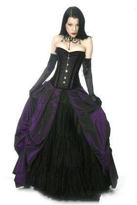 corset gothic purple and black wedding gown in 2019