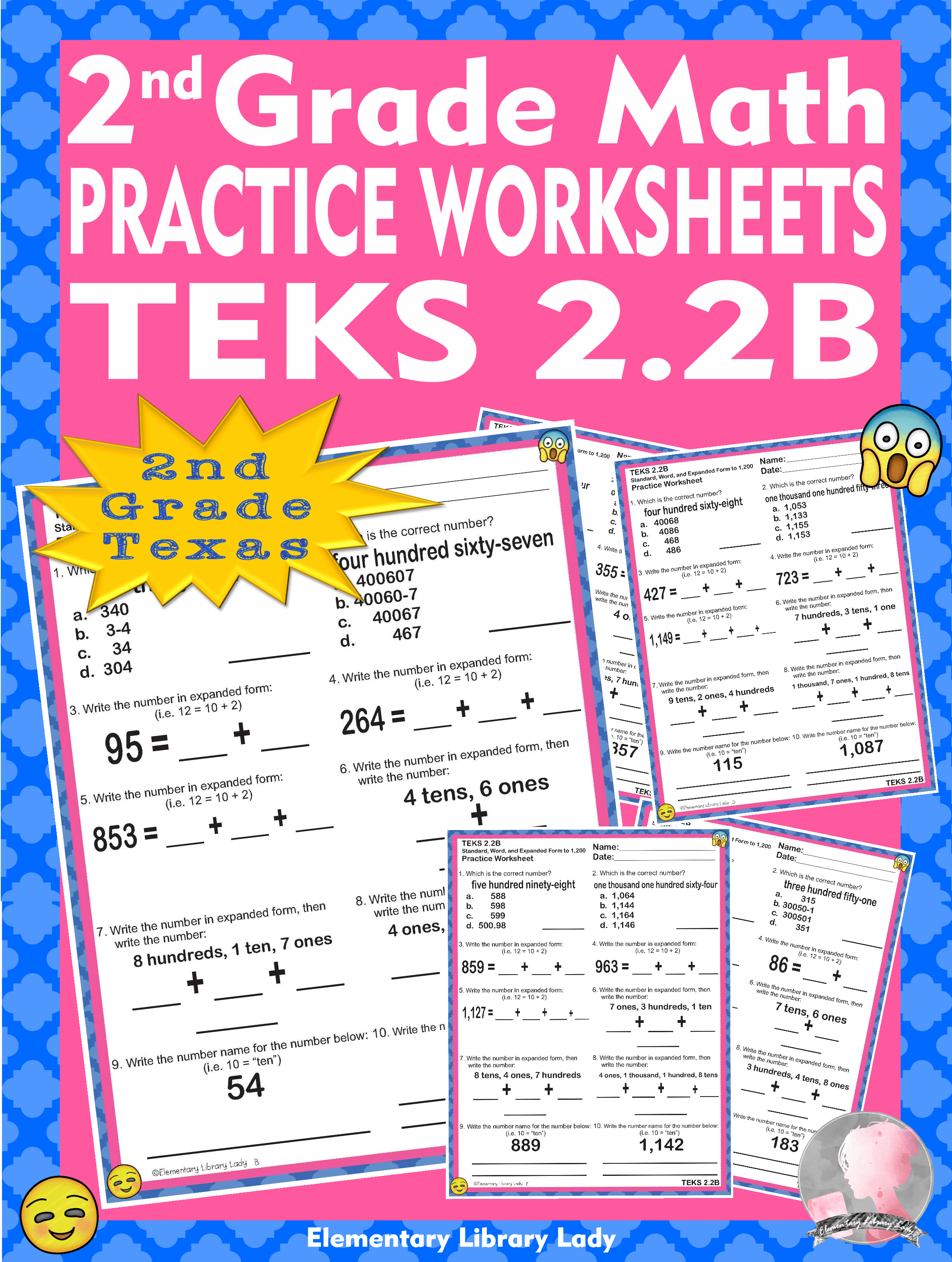 Math Teks 2 2b Texas 2nd Grade Practice Worksheets