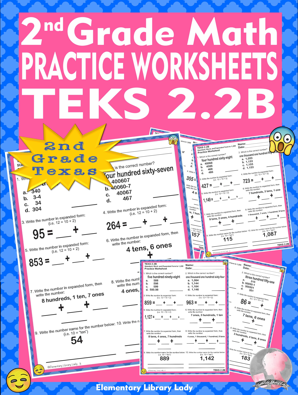 Math Teks 2 2b Texas 2nd Grade Practice Worksheets