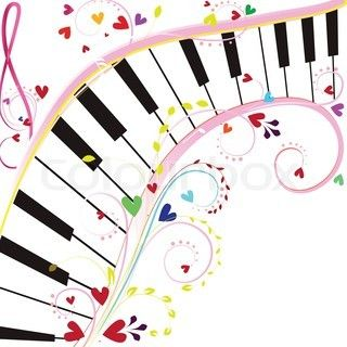 piano keyboard on a white background with notes and hearts