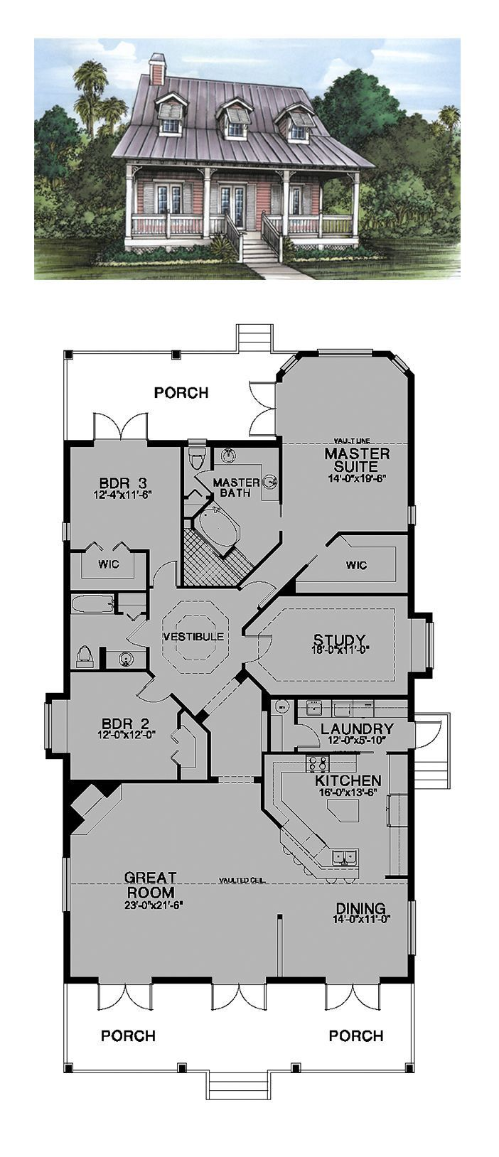 Could Be A Great Lake House W Study As A Bedroom And 2nd Level Above Bedrooms Or Walkout Basement Best House Plans House Layouts Dream House Plans