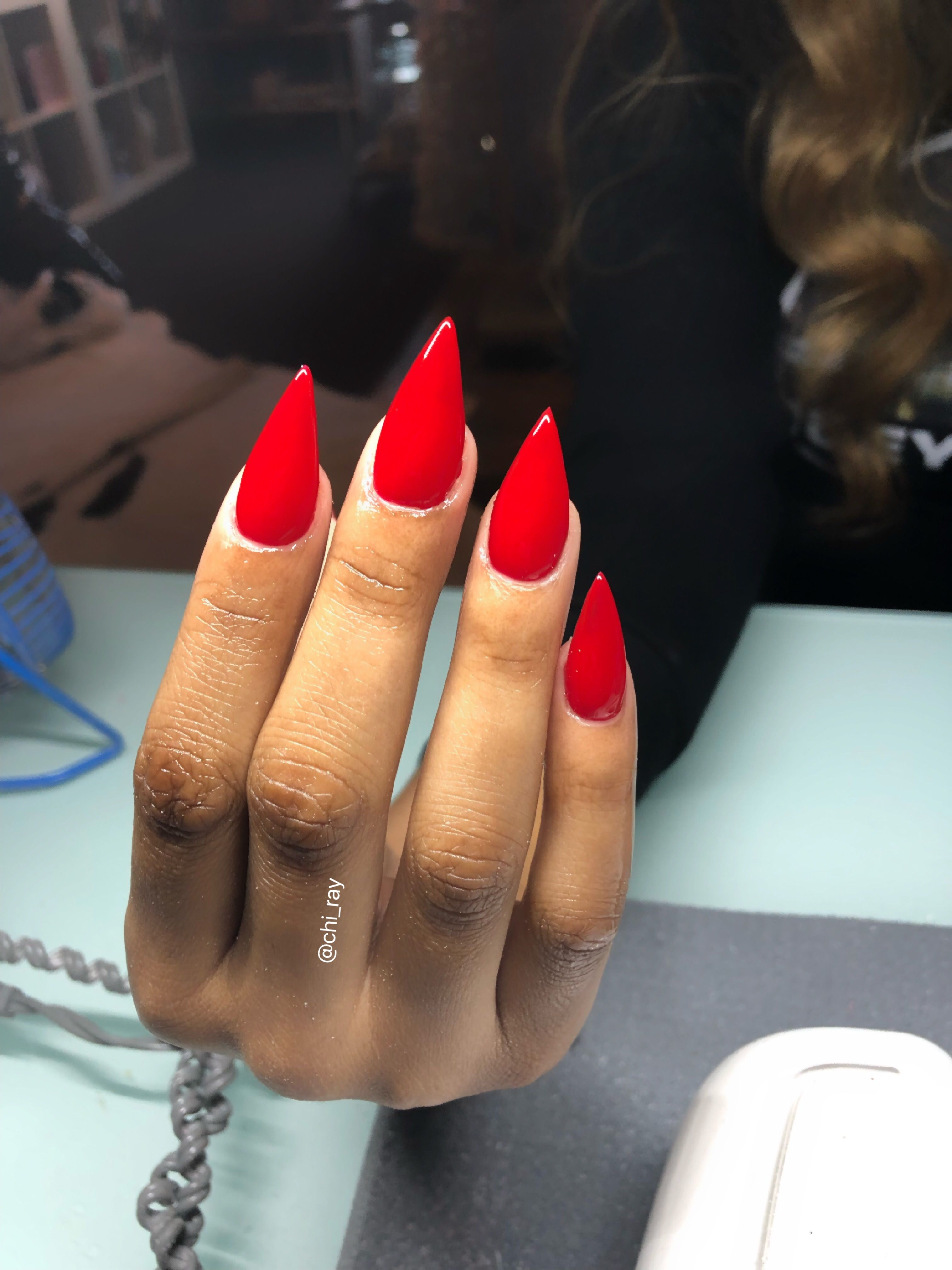 Perfect Red Nails Stiletto Nails Short Nails Medium Nails Big Apple Red Glam 2019 Paintobsessed Red Nails Red Stiletto Nails Red Acrylic Nails