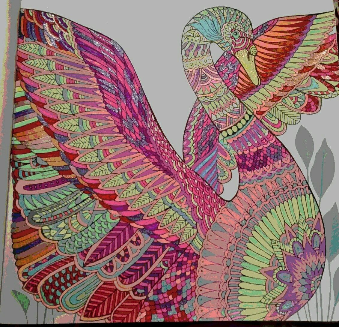 Swan The Aviary Colouring Book Coloring Book Art Basford Coloring Book Coloring Books