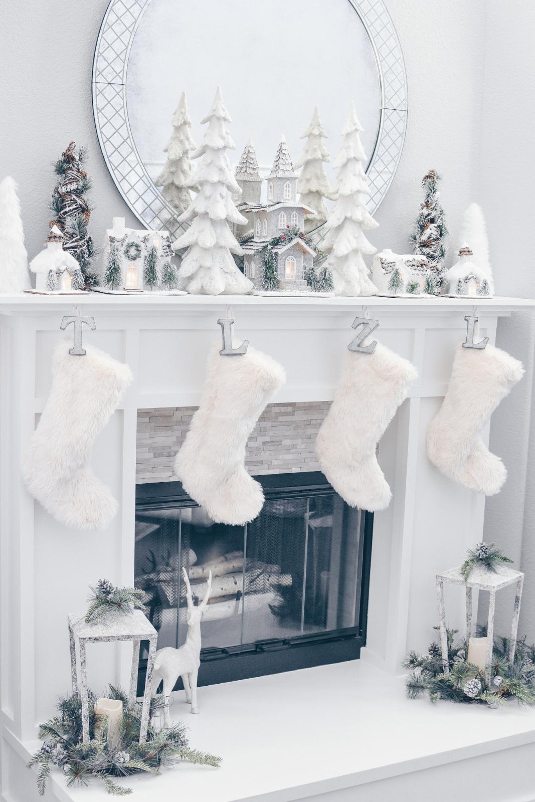 White Christmas Decor Christmas Fireplace Mantel Christmas Mantel Decorations White Christmas Decor Christmas Decor Diy
