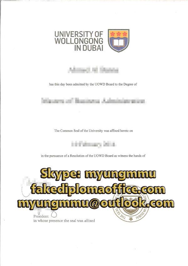 Buy Fake University Of Wollongong In Dubai Degree University