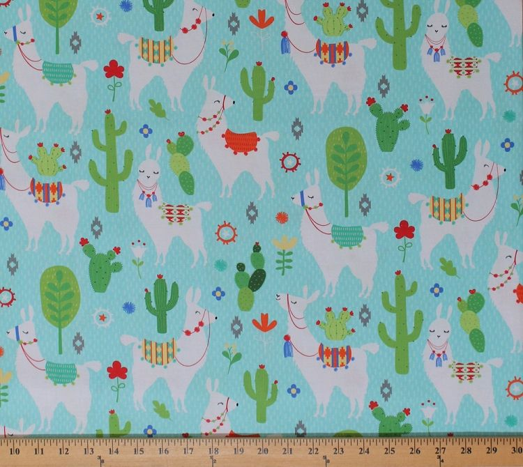 Cotton Llamas Alpacas Animals Cactus Cacti Southwestern
