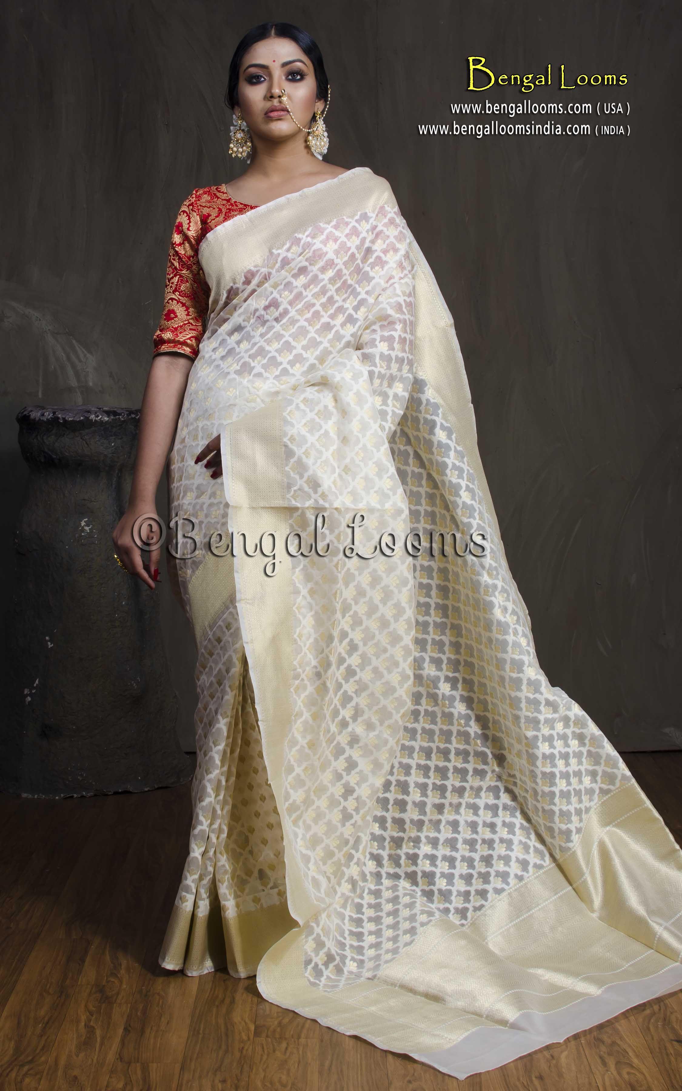 5c3ac7ec93 Pure Kora Silk Banarasi Saree in Off White and Gold | Kora Silk ...