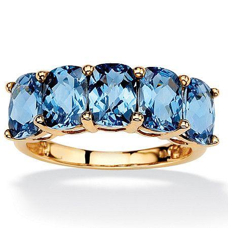 Vibrant checkerboard-cut London blue topaz ring. $109