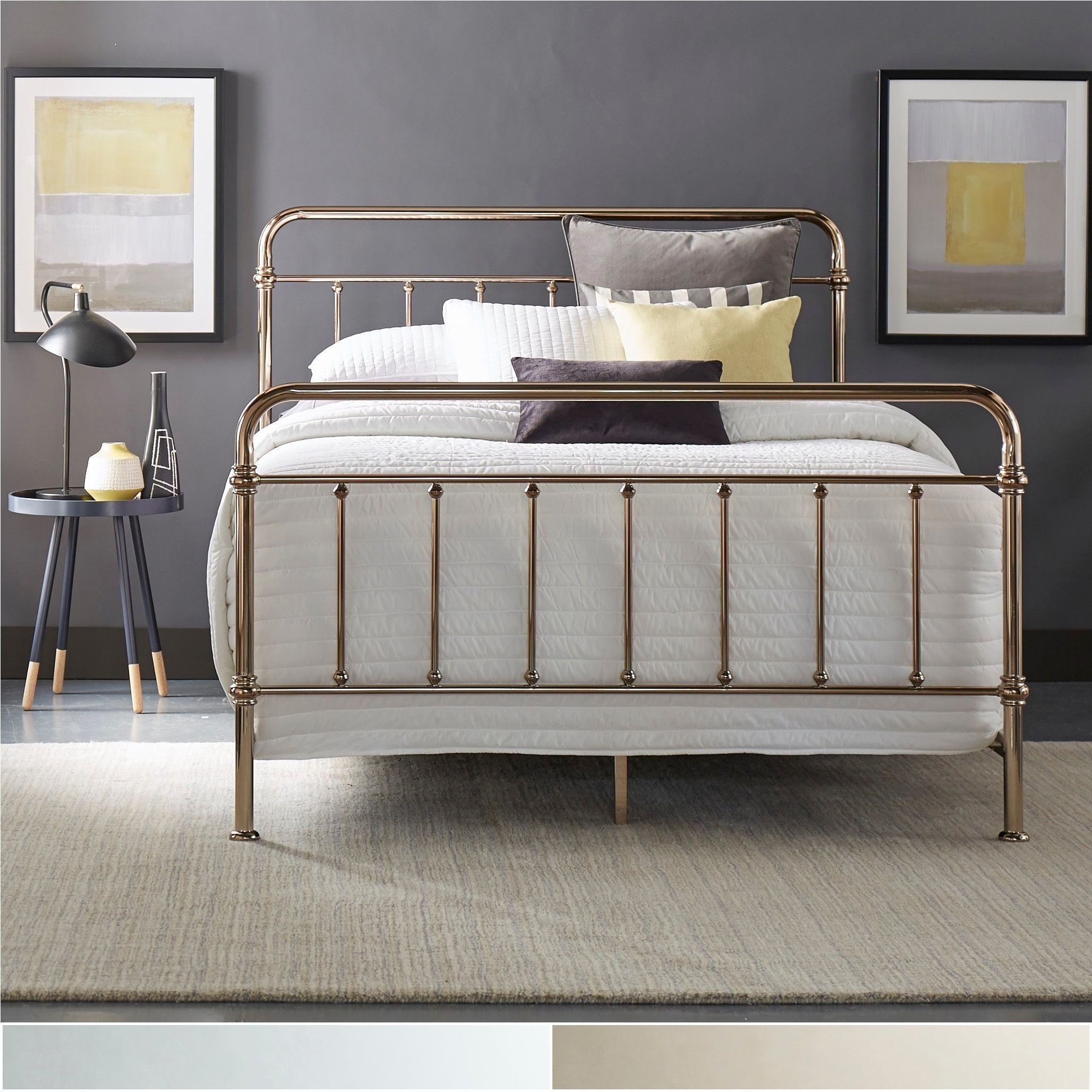 Giselle Graceful Lines Victorian Metallic King Sized Metal Bed By Inspire