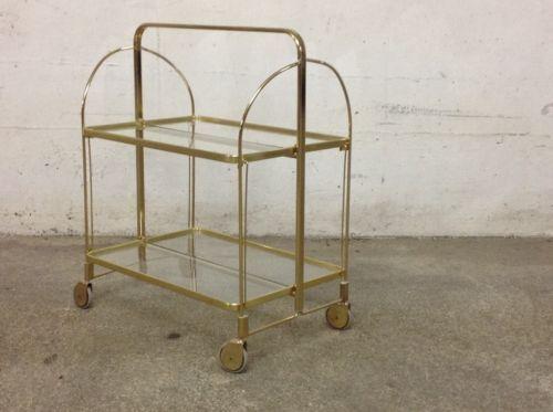 Dinett Tisch Teewagen Gold Glas Top Long Island Style Rooming