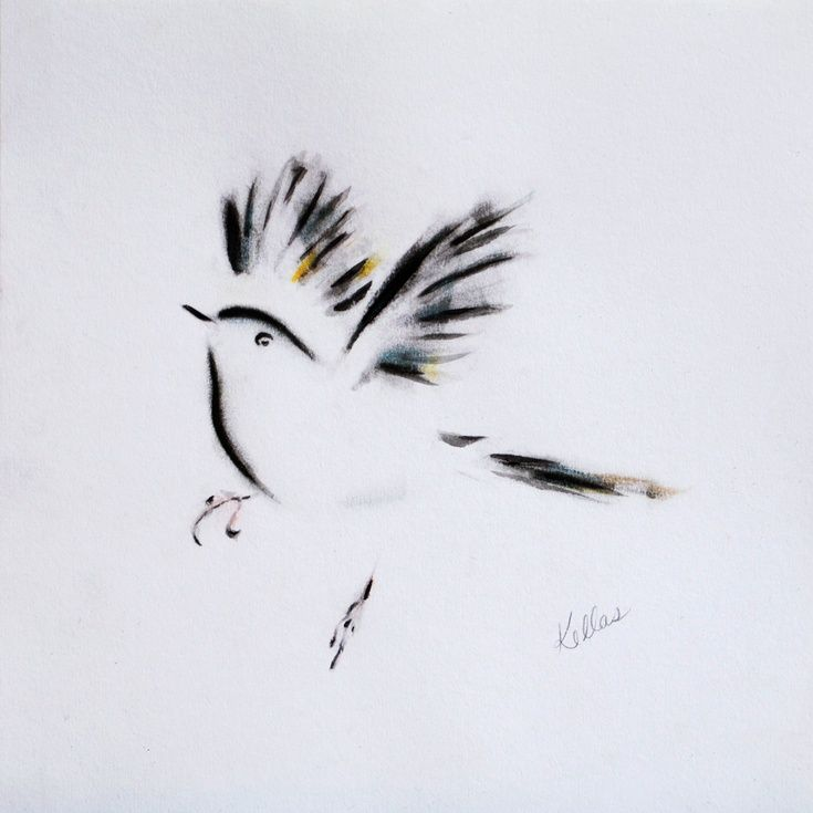 ARTFINDER: Ink and Charcoal Little Bird by Kellas Campbell - I used ink applied with a calligraphy brush, as well as charcoal, graphite and pastel, to draw this little bird stretching its wings.