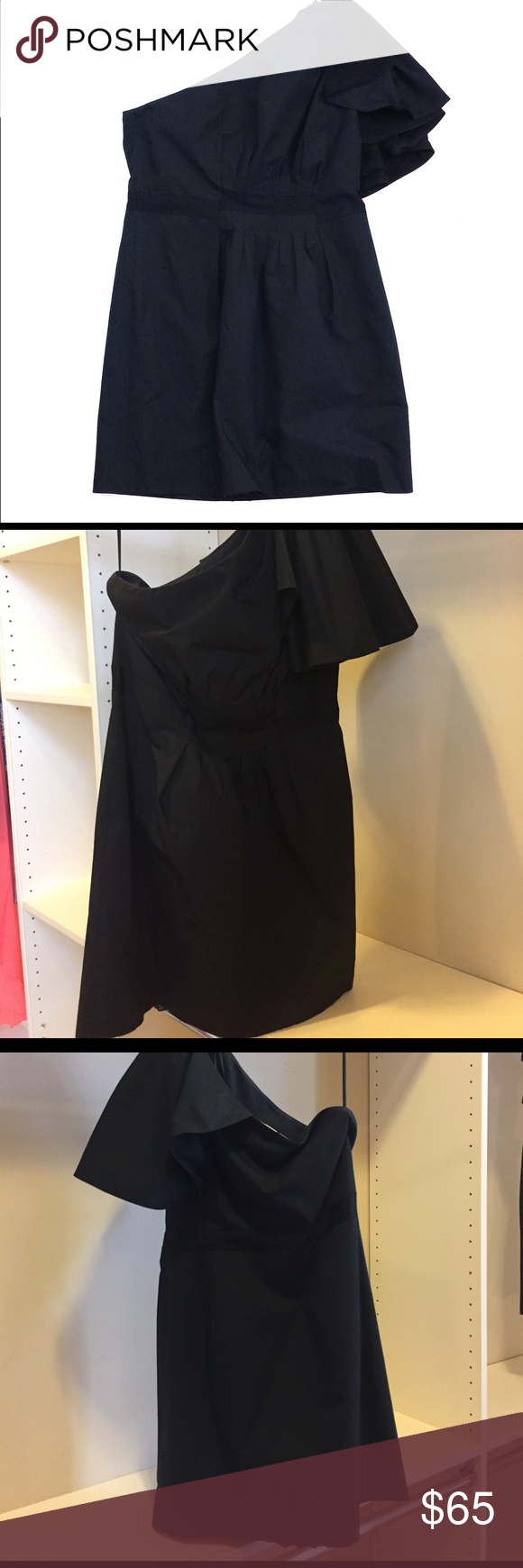 Leifsdottir black cotton one shoulder dress Shoulder dress Sassy