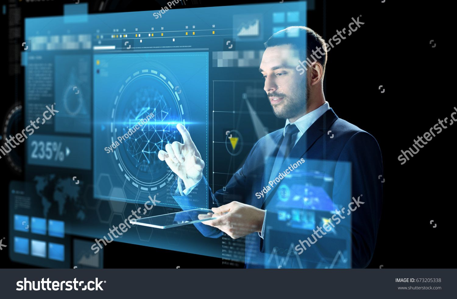 Business People Augmented Reality And Modern Technology Concept Businessman In Suit Wo Futuristic Technology Augmented Reality Technology Augmented Reality