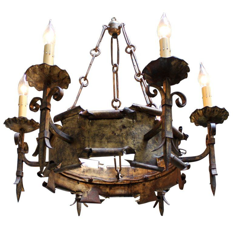 Six light wrought iron spanish chandelier wrought iron spanish six light wrought iron spanish chandelier 1 aloadofball Choice Image