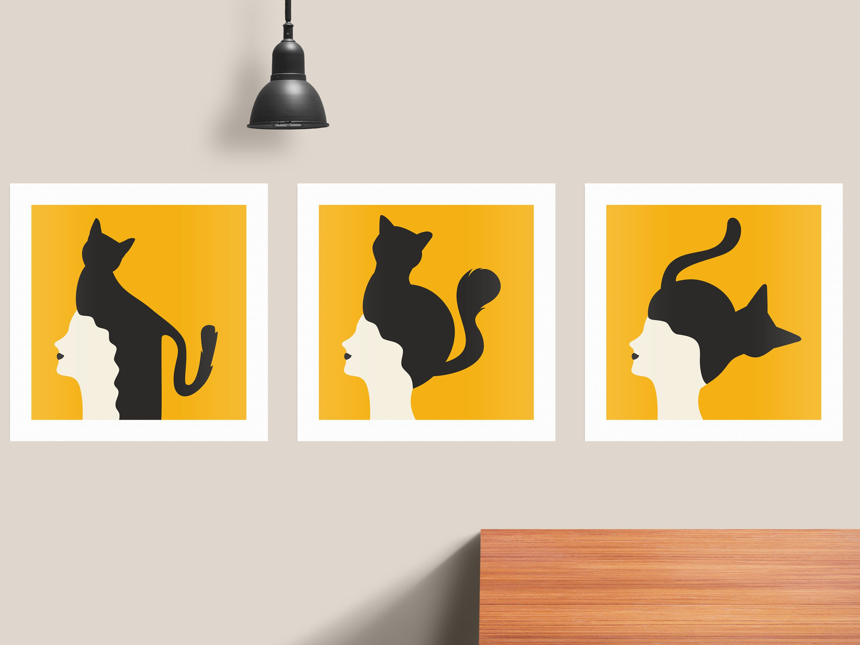 Set Of 3 Posters Cat Prints Minimalist Poster Cute Posters