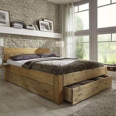 Bettgestell 180x200  Doppelbett bett gestell mit schubladen 180x200 kiefer massiv holz ...