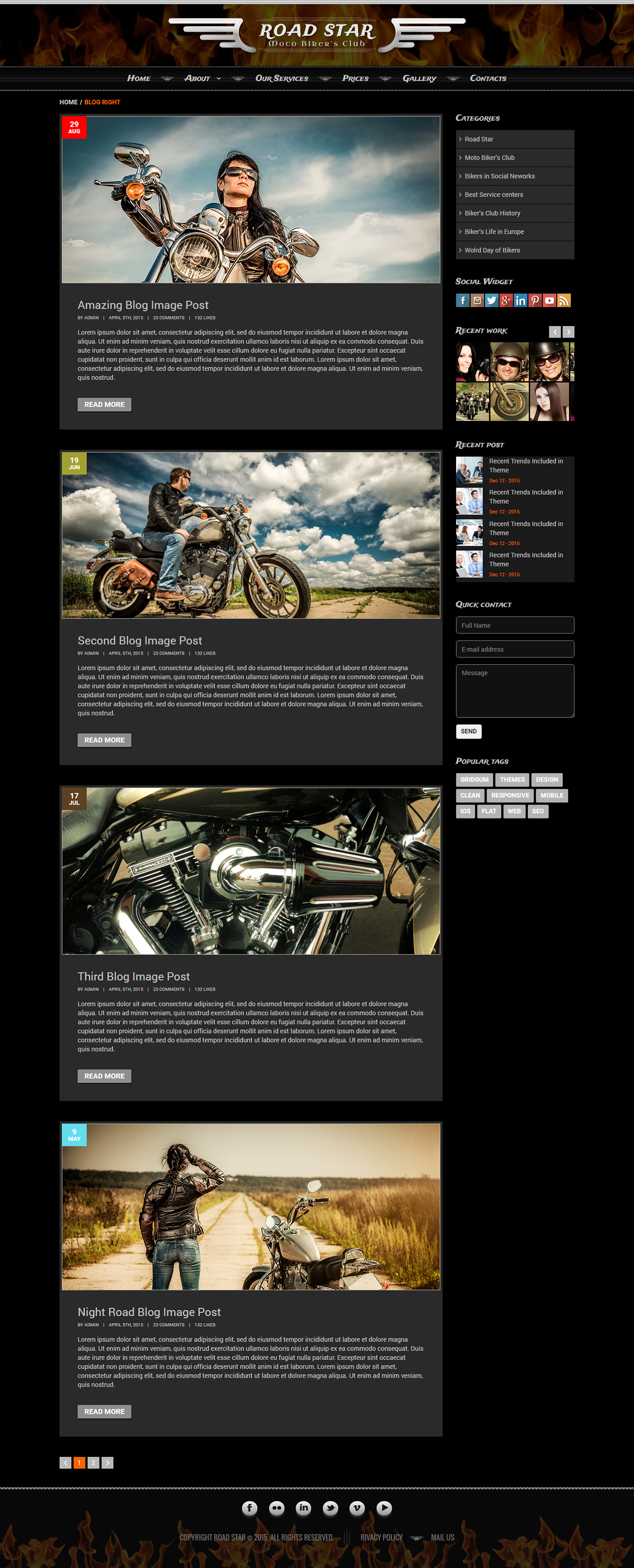 Bikers Club HTML Template on Behance | Bootstrap Templates ...