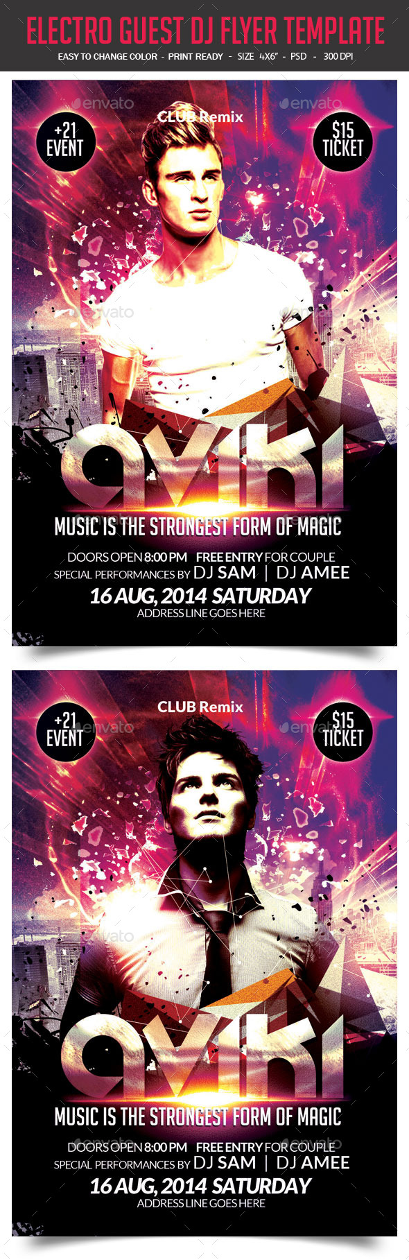 Electro Guest DJ Flyer Template   Flyer template, Template and Font logo