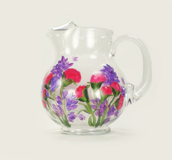 Hand Painted Glass Pitcher  Bright Pink and purple flowers, carnations and lilacs by HandPaintedPetals, $68.00 #housewarming #gift #idea #handpainted #drinkware