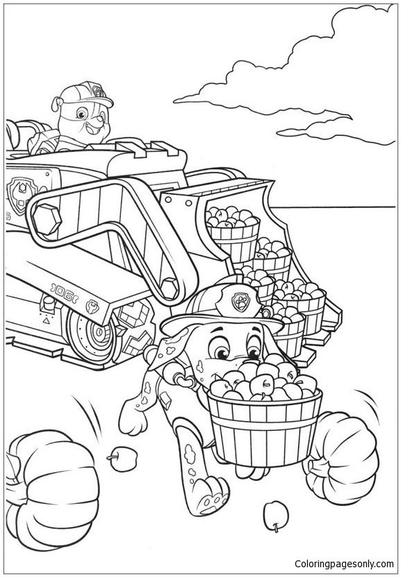 Rubble And Marshall Paw Patrol Coloring Page