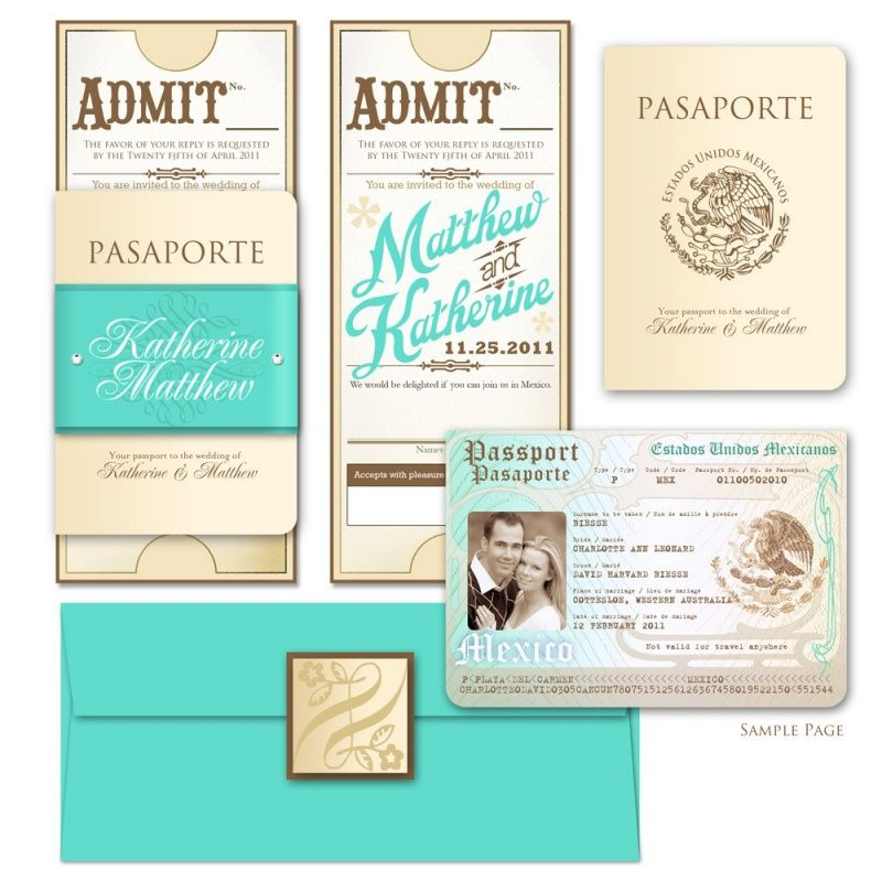 17 Best images about Travel Wedding ideas – Passport Themed Wedding Invitations