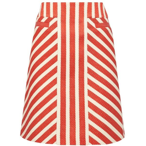 Karen Millen Striped Tweed Skirt, Red/Multi ($165) ❤ liked on Polyvore featuring skirts, red skirt, red striped skirt, karen millen, stripe skirt and red stripe skirt