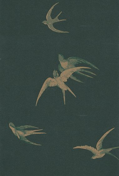 Sanderson Swallows Black Wallpaper main image