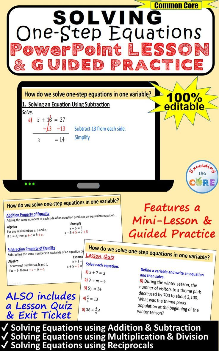 Get Your Students Successfully Solving One Step Equations With This Powerpoint Presentation This Lesson Star One Step Equations Powerpoint Lesson Mini Lessons Solving one step equations by adding