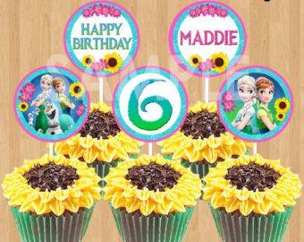 Frozen Fever Cupcake Toppers INSTANT por KidsPartyPrintables cup