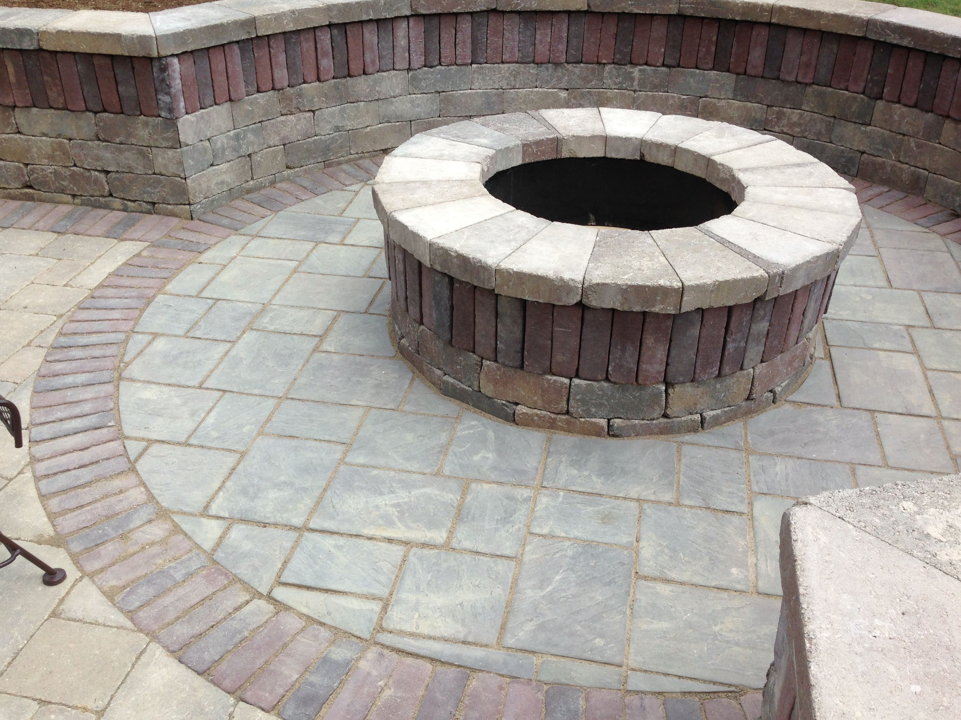 Brussels Block Fire Pit With Limestone Caps Outside Patio Fire Pit Outdoor Rooms