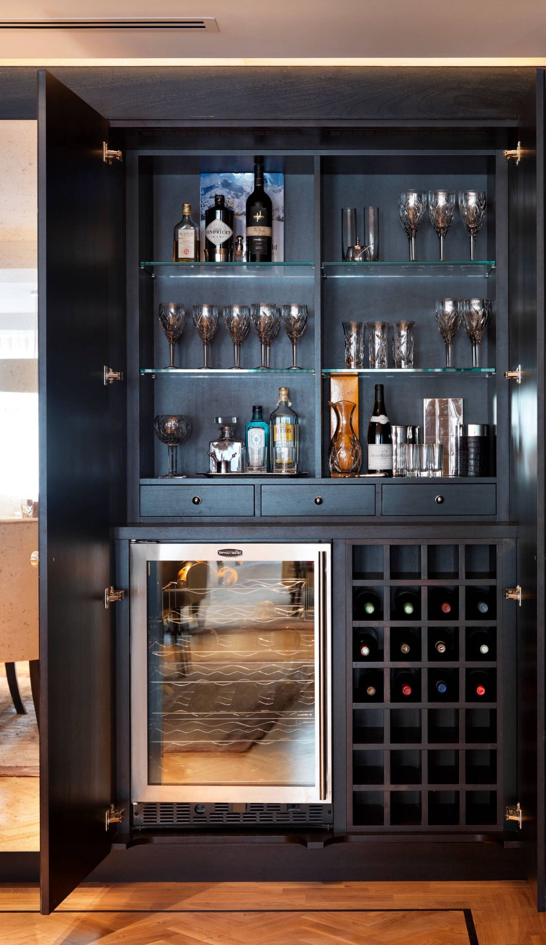 Built in alcohol cabinet  House Designs in 2019  Pinterest  Home bar designs Bars for home